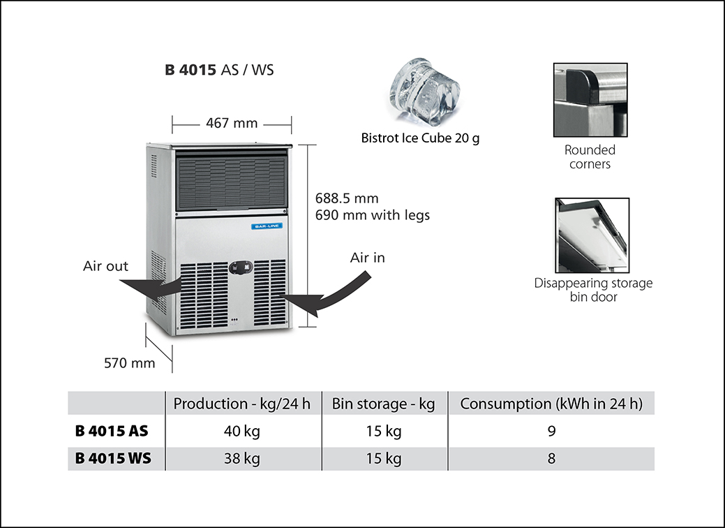 Bar Line Self Contained Ice Makers Buil In Versions